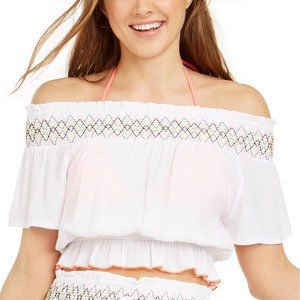 Miken White Swim Cover Up Top Size S